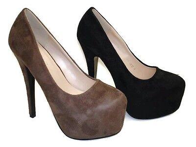 Para Mujer Gamuza Plataforma Oculta señoras Stiletto De Tacón Alto Zapatos Tenis fp-8812