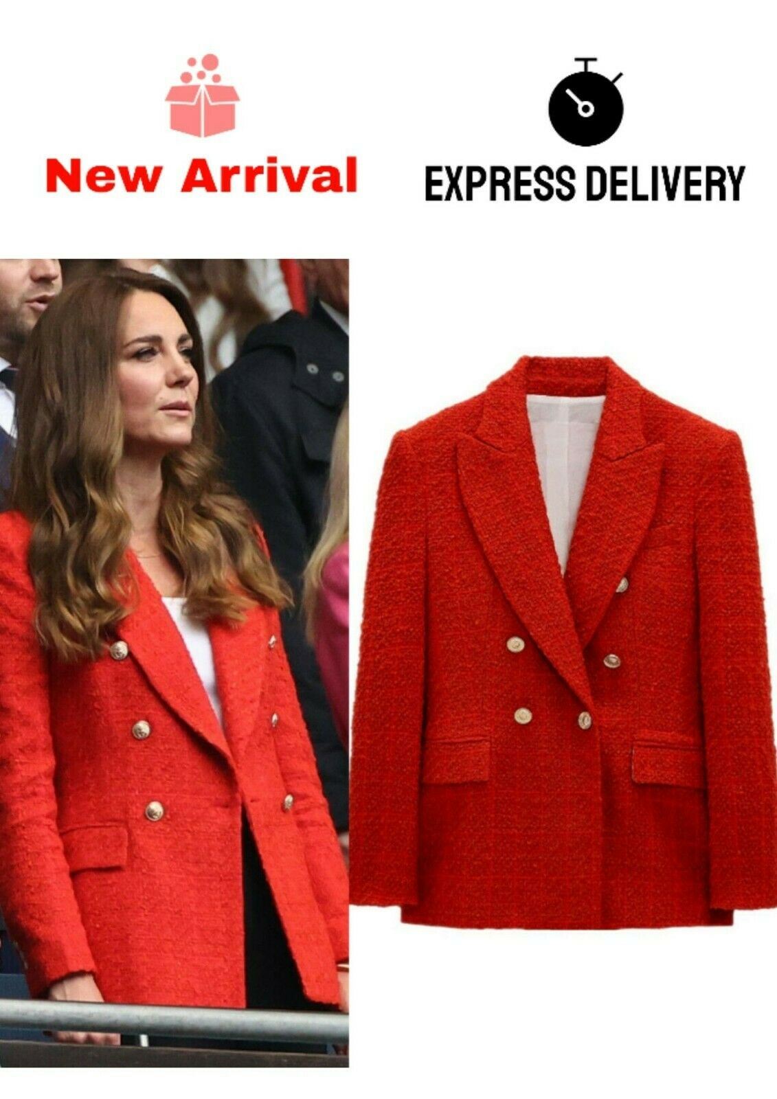 For Kate Middleton Red Double-Breasted Textured Boucle Blazer Jacket Weave Women