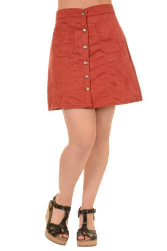 Ladies A Line Retro Burgundy Maroon Button Front Suedette Skirt