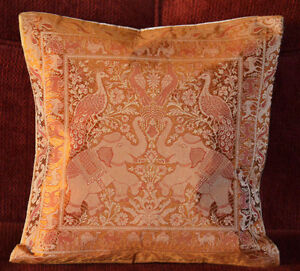 Brocade-Silk-Pillow-Cover-in-shades-of-Buff-Brown-Color-from-India