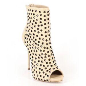GIUSEPPE-ZANOTTI-Womens-38-Tan-Circle-Metal-Rivet-Rocker-Peep-Toe-Ankle-Boots