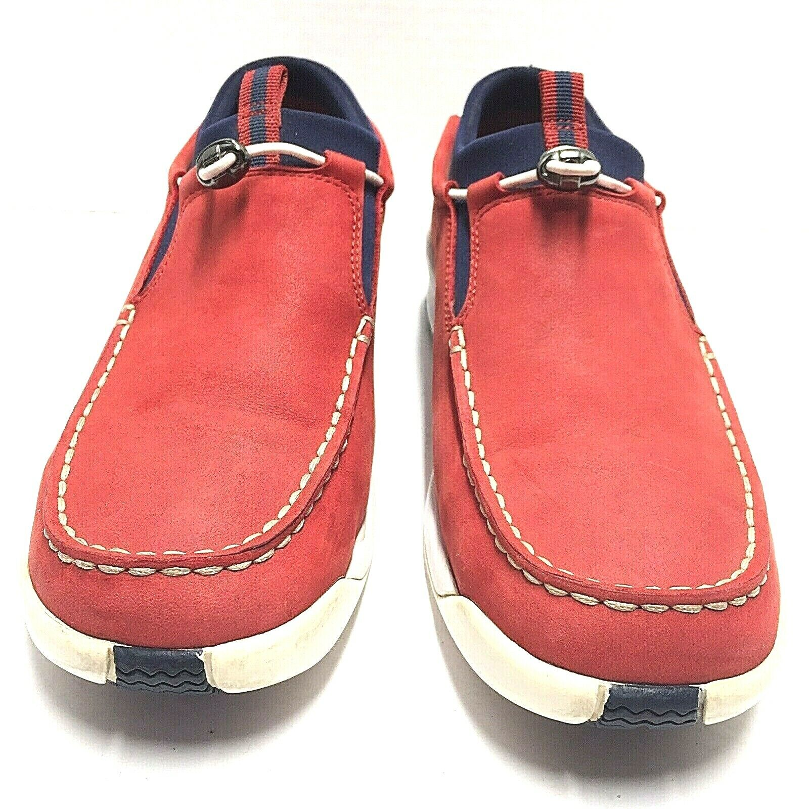 Cole Haan Country rojo With Navy Trim Nubuck Suede Slip On Loafers Mens Talla 9B