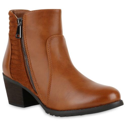 Klassische Stiefeletten Gesteppt Zipper Leder-Optik Absatz 812602 Schuhe