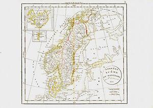 Carte - NORVEGE- SUEDE & DANEMARK -1834- 38 x 49 cm. Delamarche. Scandinavie ngDGXgo2-09085003-389680026