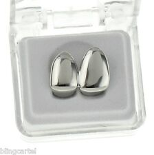 Double Cap Platinum Silver Tone Grillz Canine Teeth Two Single Right Tooth Grill