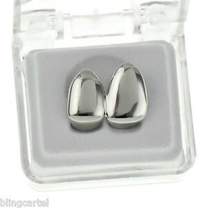 Double Cap Platinum Silver Tone Grillz Canine Teeth Two