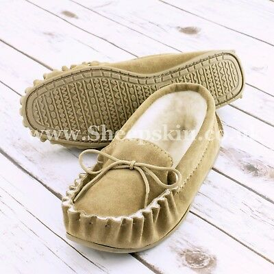 Unparteiisch British Suede Wool Lined Moccasins Ladies / Men's Slippers Navy Or Beige, Rheuma Und ErkäLtung Lindern
