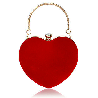 Womens Heart Clutch Bag Velvet Evening Bag Handbag Purse Chain Bag Party Wedding