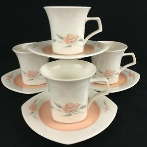 Set-of-4-VTG-Cups-and-Saucers-by-Nikko-Peachglow-Quadrille-Peach-Floral-Japan