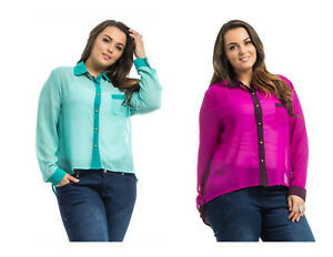 60849868 ROMAN Women's Sheer Button Shirt Color-Block Long-Sleeve PLUS SIZE ...