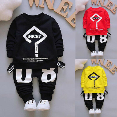 2pcs Baby Toddler Boys Kids Solid Tops Shirt Pants Tracksuit Set Outfit Clothes