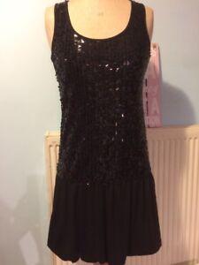 Pretty-Good-Sequin-Jersey-Vest-Bubble-Party-Mini-Dress-S-Size-8-10