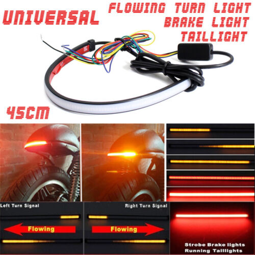 45cm Motorcycle Sequential Switchback Flowing LED Tail DRL Brake Turn Signals