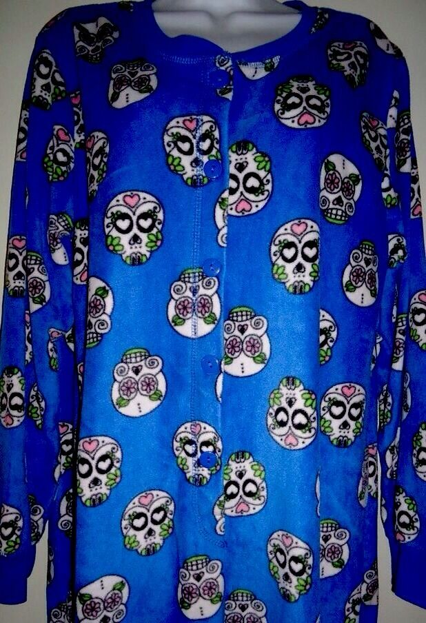 Gothic Sugar Skulls Day The Dead Footed Pajamas Mexican Death NEW S LASTONE