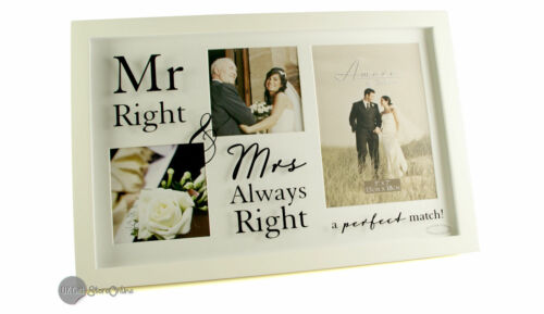 MR.RIGHT /& MRS ALWAYS RIGHT Collage Photo Picture Frame Wedding Gift WG547