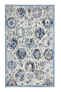 Distressed-Floral-2-039-x4-039-Light-Blue-Oriental-Traditional-Area-Rug-507