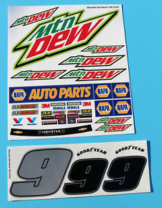 Details about RC 10th 1/10 SCALE Nascar 'MOUNTAIN DEW' number 9 model car  Decals Stickers