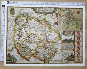 Map Of England 1600.Details About Old Antique Tudor Map Herefordshire England John Speed 1600 S 15 X 11 Reprint