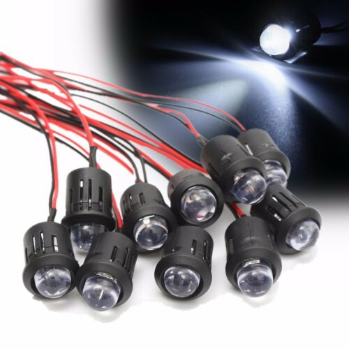 10pcs 12V 10mm Pre-Wired Constant LED Ultra Bright Water Clear Bulb
