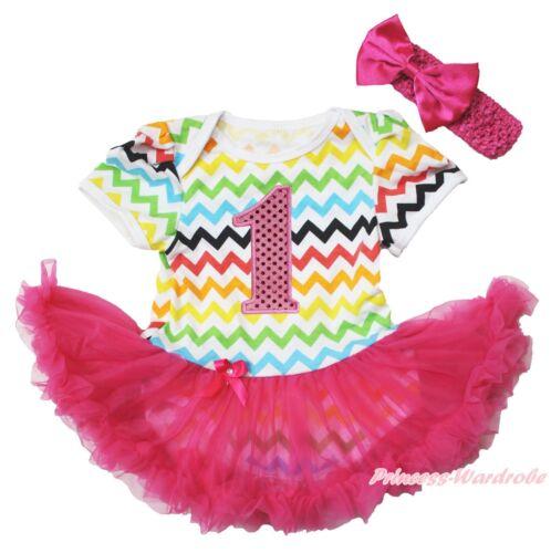 Easter 1ST Birthday Rainbow Chevron Bodysuit Hot Pink Girl Baby Dress NB-18Month