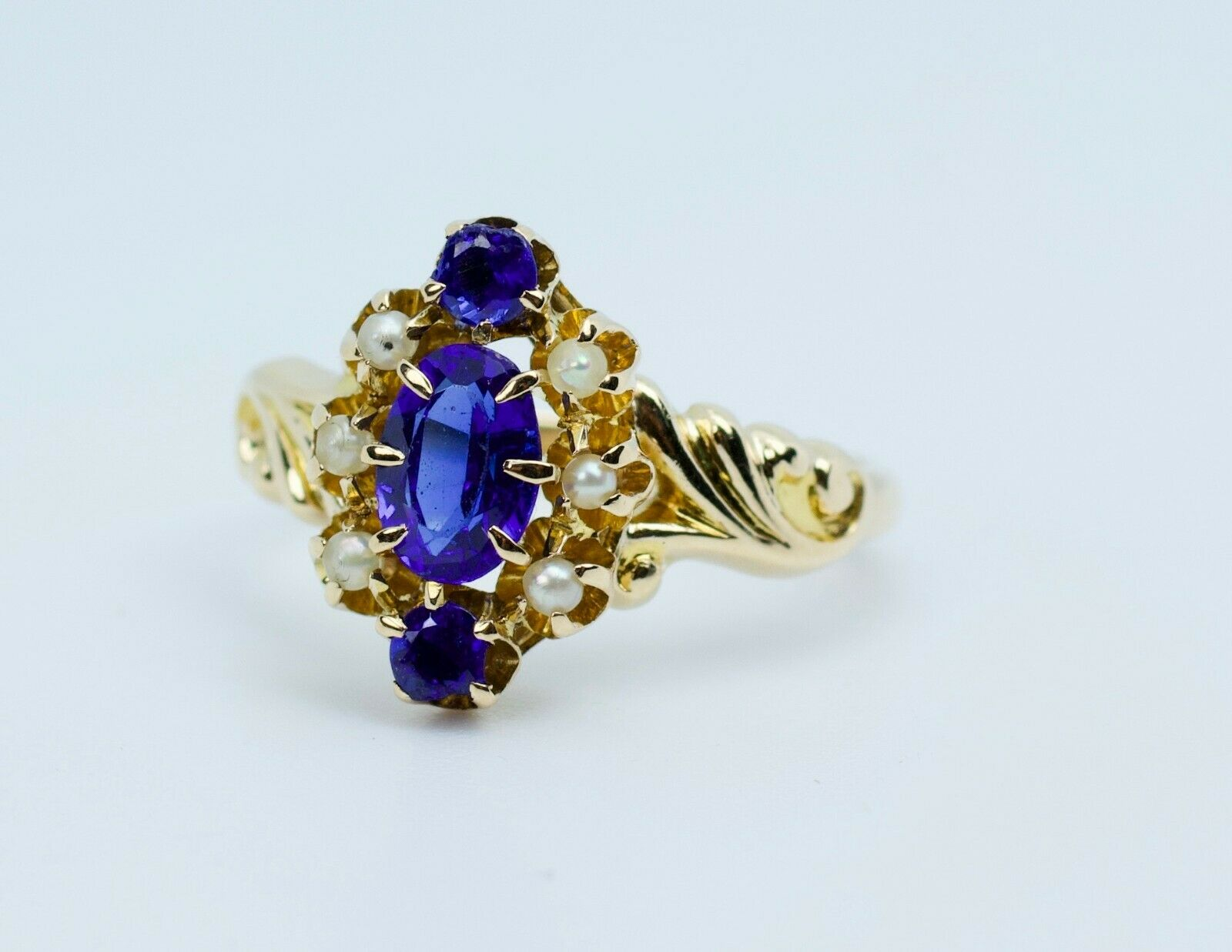 Vintage 14k Yellow Gold Oval Blue Synthetic Sapph… - image 10