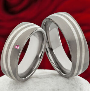 Eheringe-Verlobungsringe-aus-Titan-mit-925-Silber-und-Rhodolite-TS632