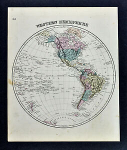 Image Is Loading 1876 Beers World Map Western Hemisphere North South