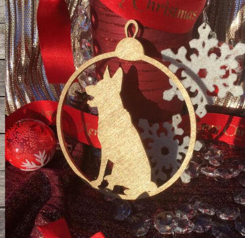 German Shepherd Tree Bauble Birthday Tag Christmas Gold Gift Tag Dog