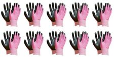 Thin Pink Work Gloves Women Nitrile Rubber Coated Touch Screen Washable 10 Pack