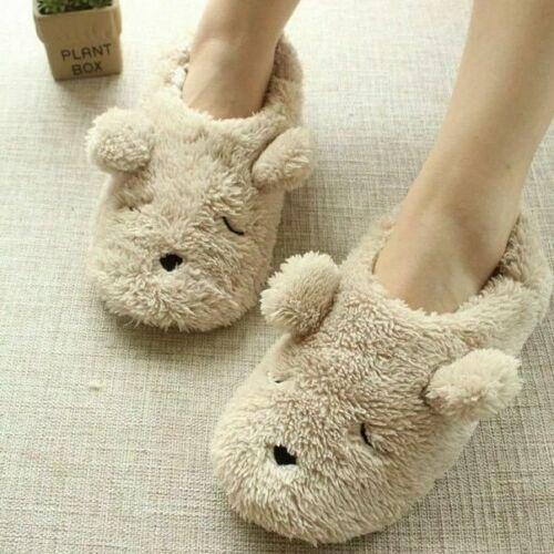 Details about  /Warm Fluffy Cartoon Slippers Unisex Flat Flock Plaid Animal Winter Zha19