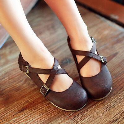 Retro Womens Girls Round Toe Cross Strap Ballet Cute Lolita Flat Shoes Loafer