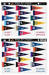 Details about MLB Rank 'Em All 30 Teams Mini Pennant Magnet Standings Set  Sheet