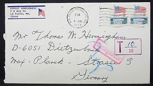 Patriotic-Flag-Pair-8c-on-US-Cover-La-Plata-T-Stamp-Nachgebuhr-USA-Letter-Y-34