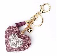 Schlüsselanhänger Taschenanhänger Anhänger gold Strass Glitzer Herz lila weiß