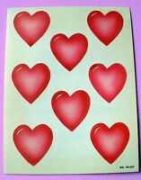 Vintage 1984 Paper Art 1 Sheet 8 Stickers Valentines Day Red Hearts