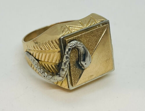 Vintage 18k Yellow Gold Figural Snake Men's Ring S
