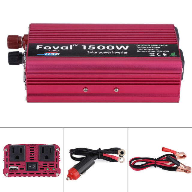 US Plug DC12V to AC110V Portable Car Power Inverter Charger Converter 1500W Watt
