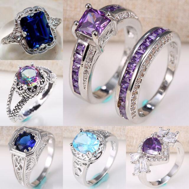 925 Silver Blue Sapphire Amethyst Women Men Ring Gemstone Wedding Size 6-10