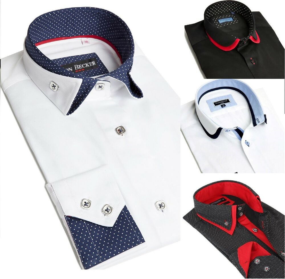 New Hommes Italienne Double Col Slim Fit Shirt Round/pliable Col à Manches Longues