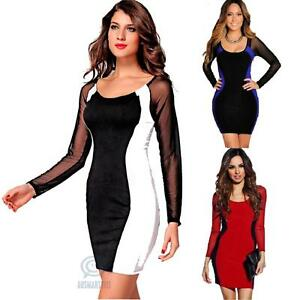 Sexy-Slim-Bodycon-Mesh-Long-Sleeve-Formal-Evening-Cocktail-Party-Club-Wear-Dress