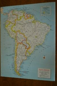 Map Of America Ebay.Details About 1967 Map Of South America