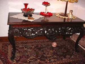 ANTIQUE-LONG-DARK-MAHOGANY-CONSOLE-CARVED-TABLE