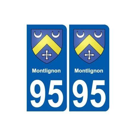 95 Montlignon blason autocollant plaque stickers ville -  Angles : arrondis