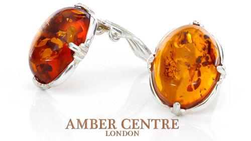 Elegant Handmade Baltic Amber Clip on Earrings in 925 Silver CL039  RRP £40!!!