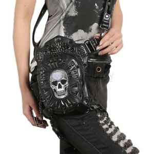 White-Skull-PU-Leather-Vintage-Gothic-Steampunk-Shoulder-Waist-Leg-Bag-Newest