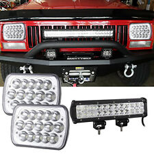 12 INCH LED Work Light Bar + 7x6 Headlights Bumper Jeep Cherokee XJ YJ 86-95