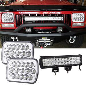 12 INCH LED Work Light Bar + 7x6 Headlights Bumper Jeep Cherokee XJ YJ 86-95