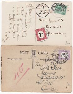 1920-23-1d-amp-2d-SOUTH-AFRICA-POSTAGE-DUES-ON-PPCs-TAXE-MARKS-JO-039-BURG-amp-DURBAN