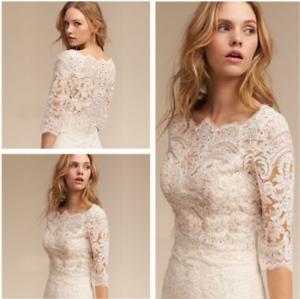 Women-039-s-White-Ivory-Wedding-jacket-Bridal-Bolero-Top-Lace-3-4-Sleeve-Appliques