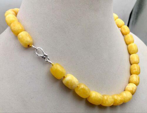 """8x12MM Naturel Afrique Jaune Jade Pierres Précieuses Perles Collier 925 Fermoir Argent 18/"""" AAA"""